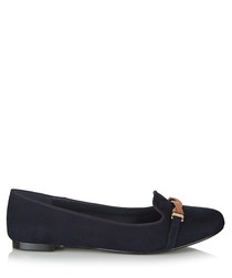 Marlow navy suede-effect round toe flats