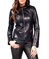 Ansia navy leather jacket