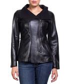 Women's Fiona leather draped jacket