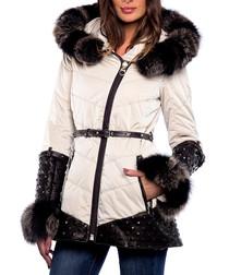 Neia beige leather & fur hooded coat