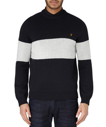 Elderidge black wool blend stripe jumper