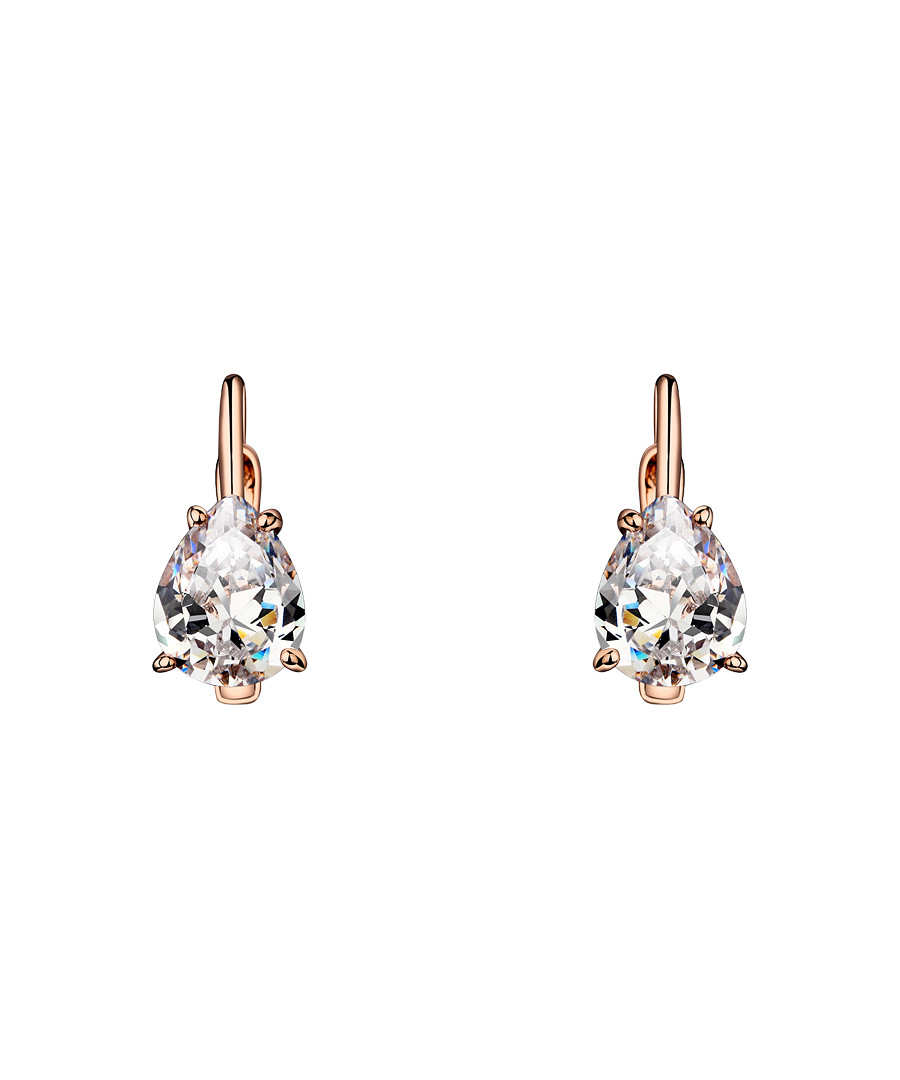 Rose gold-tone crystal earrings Sale - caromay