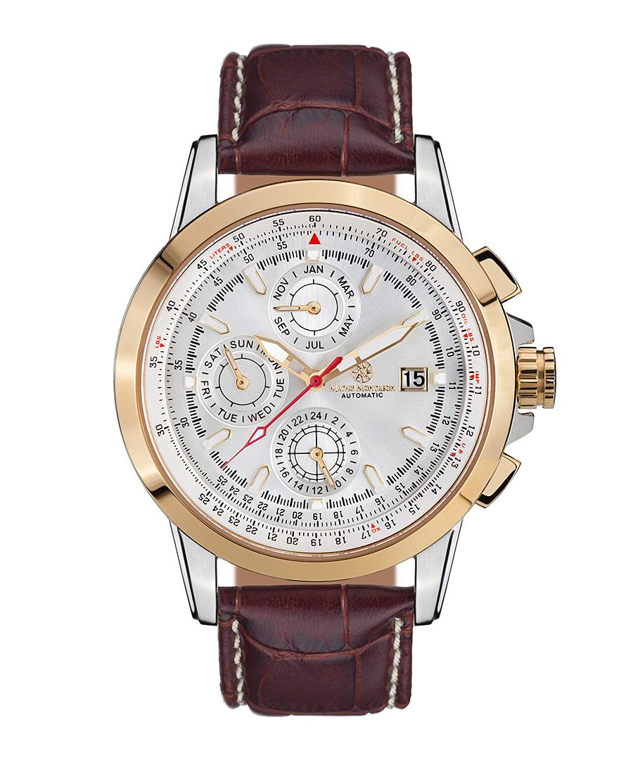 Aerotime brown leather & steel watch Sale - mathis montabon