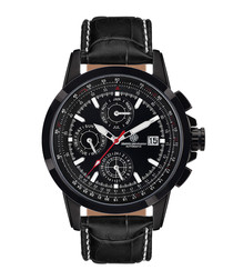 Aerotime black leather & steel watch