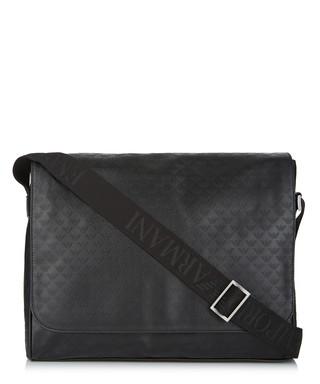Black leather monogram messenger bag Sale - Emporio Armani Sale 3903d0826604f