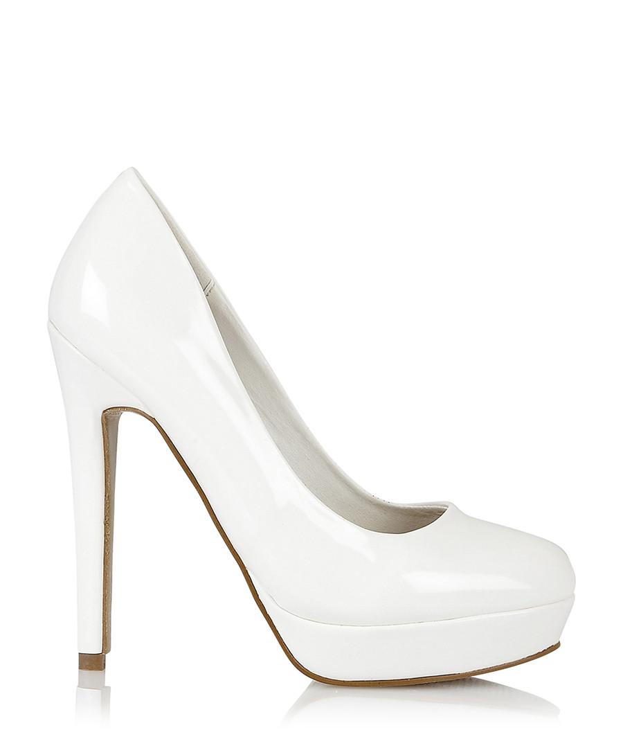 DOLCIS Barcelona white patent platform heels Designer Footwear