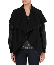 Poste jet black cotton & leather jacket