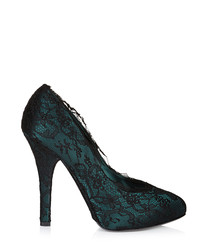 Green & black lace court heels
