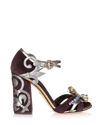 Purple velvet high heel sandals