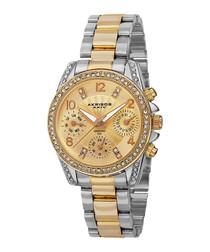 Mixed tone crystal bracelet watch