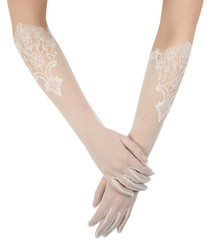 Ivory sheer floral embroidered gloves