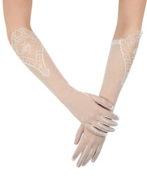 Ivory sheer lace embroidered gloves