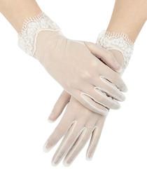 Ivory sheer embellished lace gloves