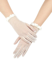 Ivory sheer satin ribbon trim gloves