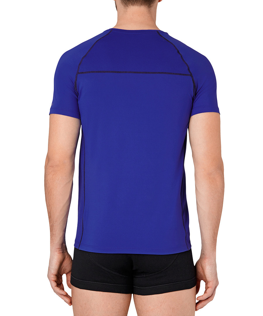 Discount Blue Black Trim V Neck T Shirt Secretsales