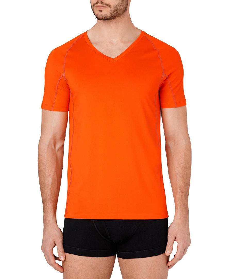 Discount Orange Amp Black Trim V Neck T Shirt Secretsales