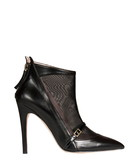 Black leather & mesh ankle boots