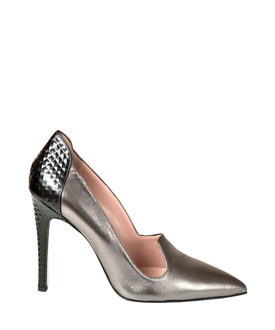 Silver-tone leather loafer high heels Sale - DE SIENA