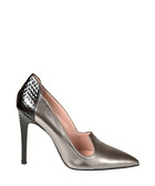 Silver-tone leather loafer high heels