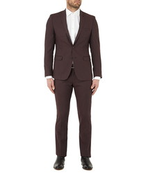 2pc claret pure wool suit