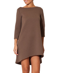 Beige quilted bell dress