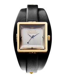 Cube gold-tone & black leather watch