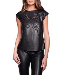 Women's Marjolaine black leather top