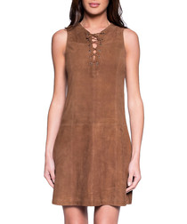 Women's Enora cognac suede dress