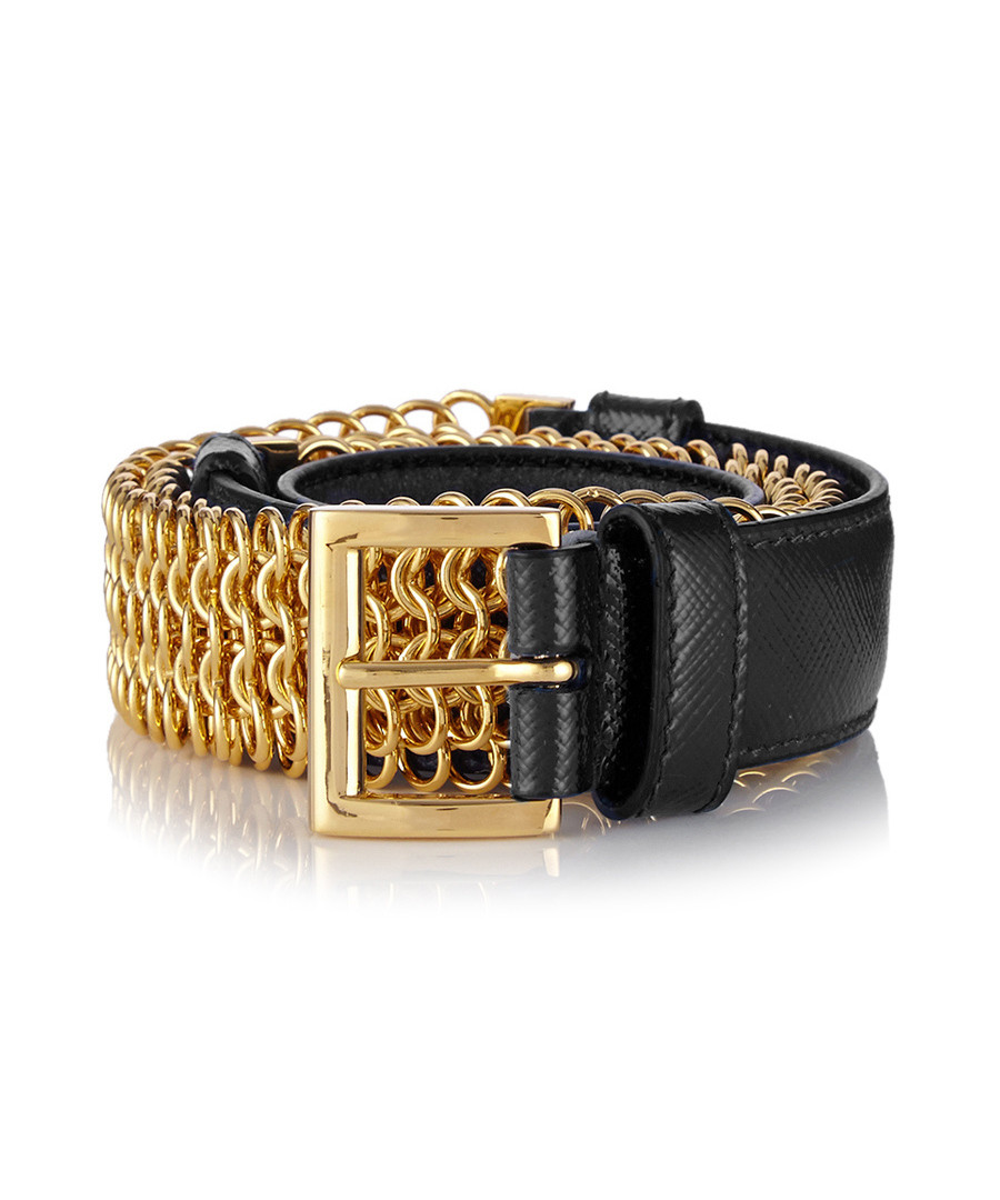 Prada Black leather gold-tone chain belt, Designer Accessories ...
