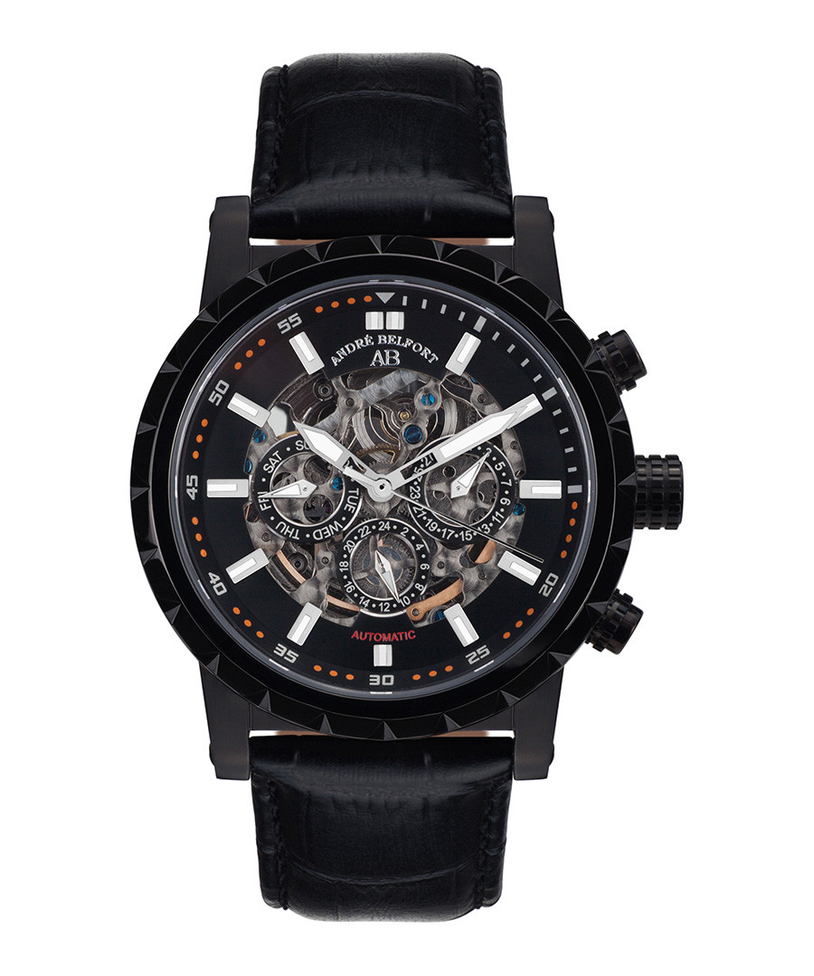 Conquête IP black leather watch Sale - andre belfort