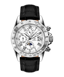 Le Capitaine silver-tone & brown leather watch
