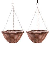 "Image of 2pc brown hanging baskets 16"""
