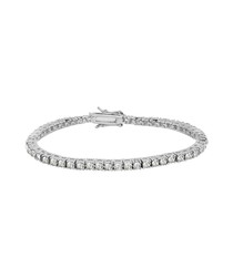 Silver-tone crystal set bracelet