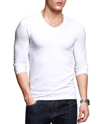 White cotton blend V-neck top