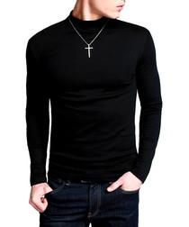 Black cotton blend high neck top