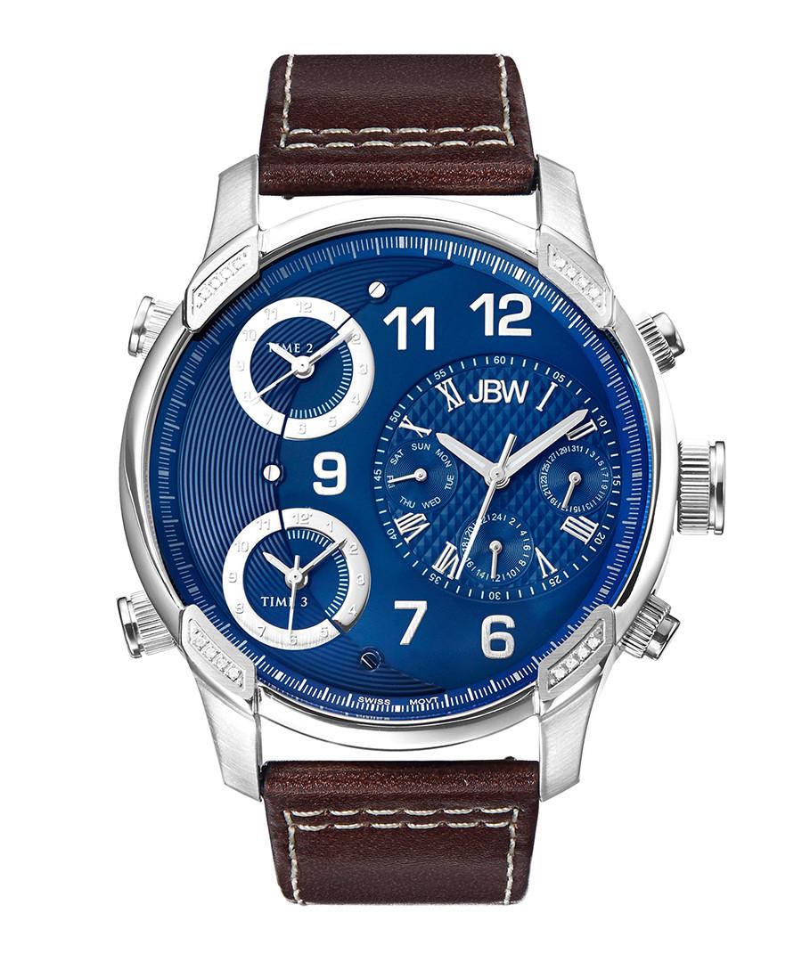 G4 steel, diamond & leather watch Sale - jbw
