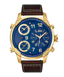 G4 18ct gold-plated & leather watch