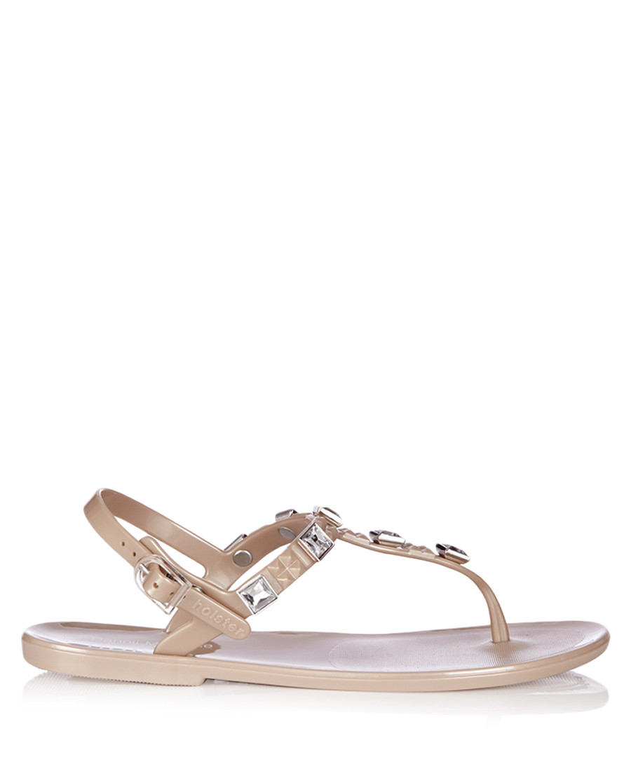 Rockstar Jelly champagne stud sandals Sale - Holster
