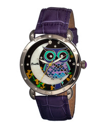 Ashley purple leather owl watch