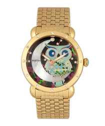 Ashley steel mother-of-pearl owl watch