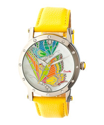 Isabella yellow leather strap watch