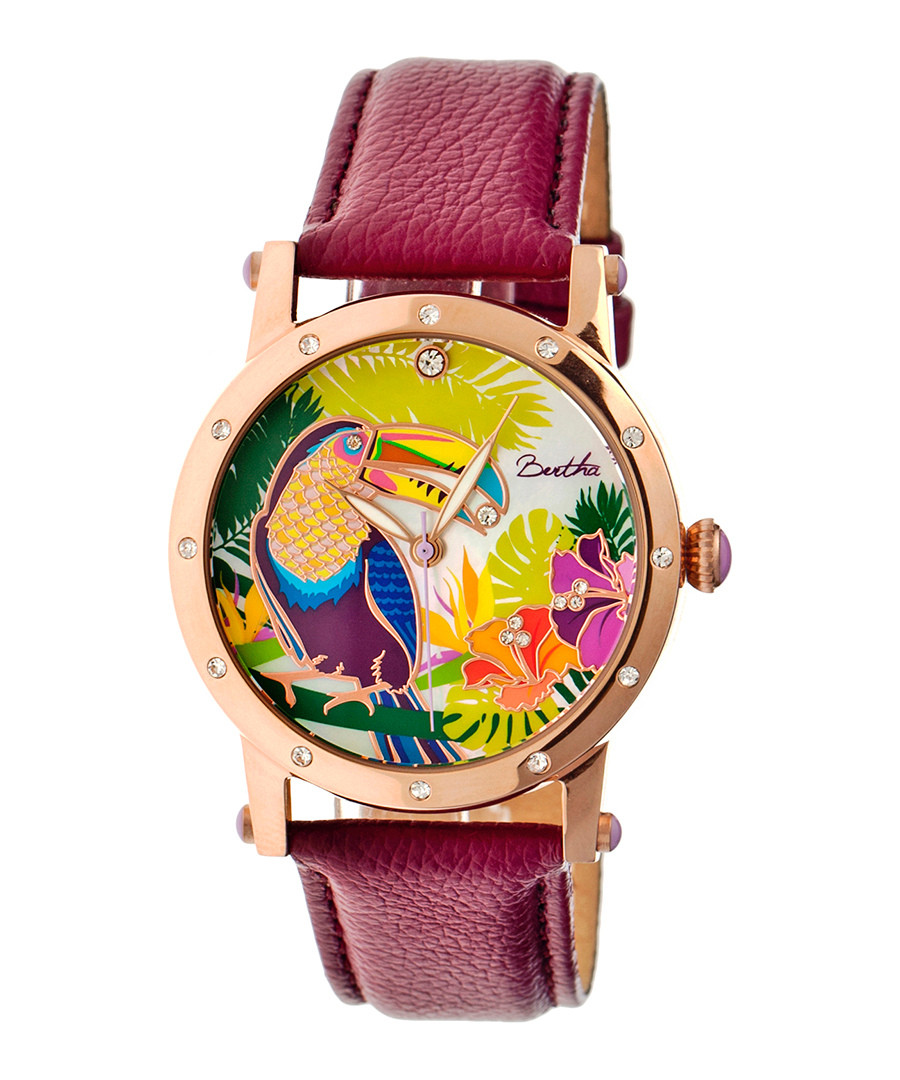 Gisele plum leather toucan watch Sale - bertha