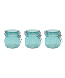 Image of 3pc blue glass jar set 500ml
