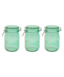 Image of 3pc green glass jar set 1L