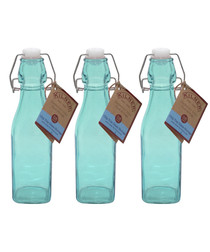 Image of 3pc blue glass bottle set 250ml