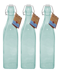 Image of 3pc blue glass bottle set 1L