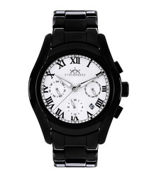 Overcast black & white ceramic watch