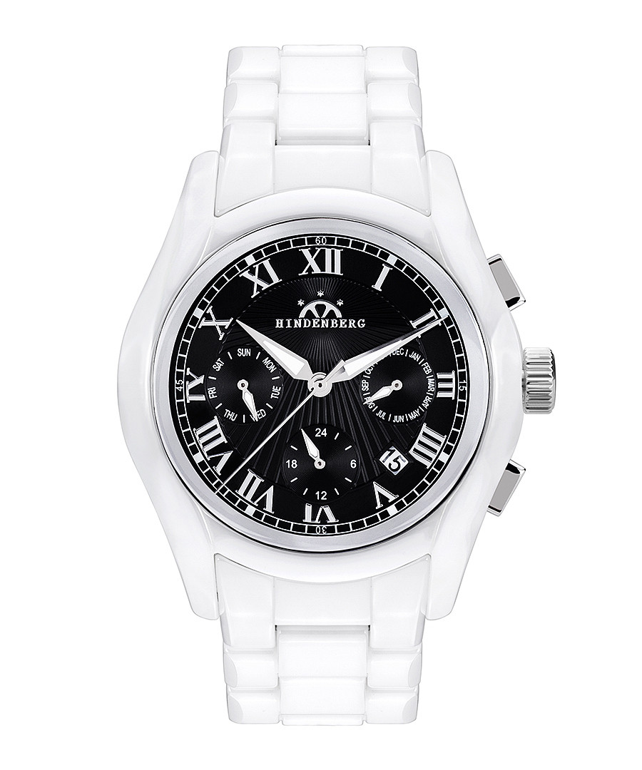 Overcast white & black ceramic watch Sale - hindenberg