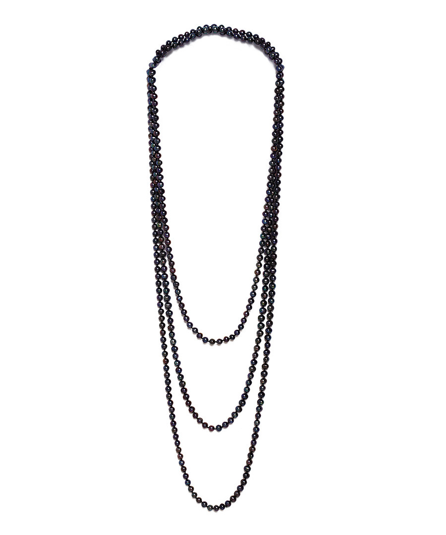 0.5cm black pearl layered necklace Sale - Windsor Pearls