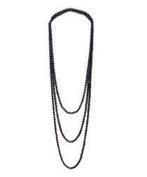 0.5cm black pearl layered necklace